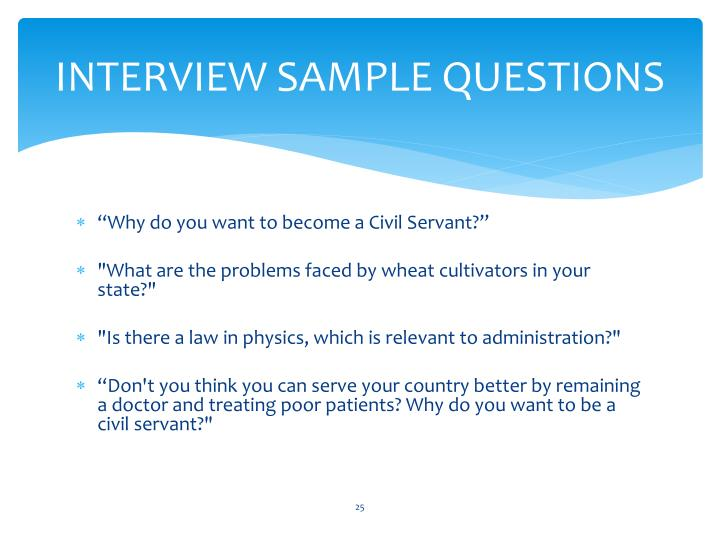 INTERVIEW SAMPLE QUESTIONS