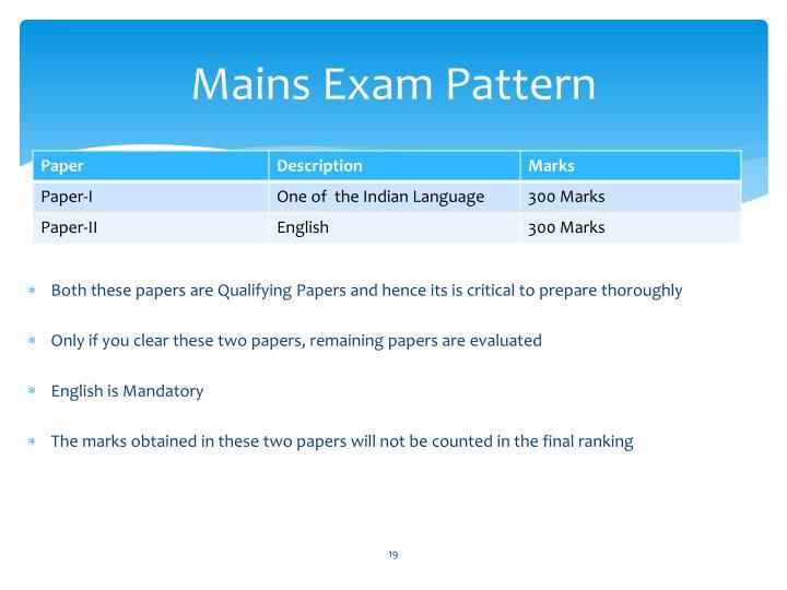 Mains Exam Pattern
