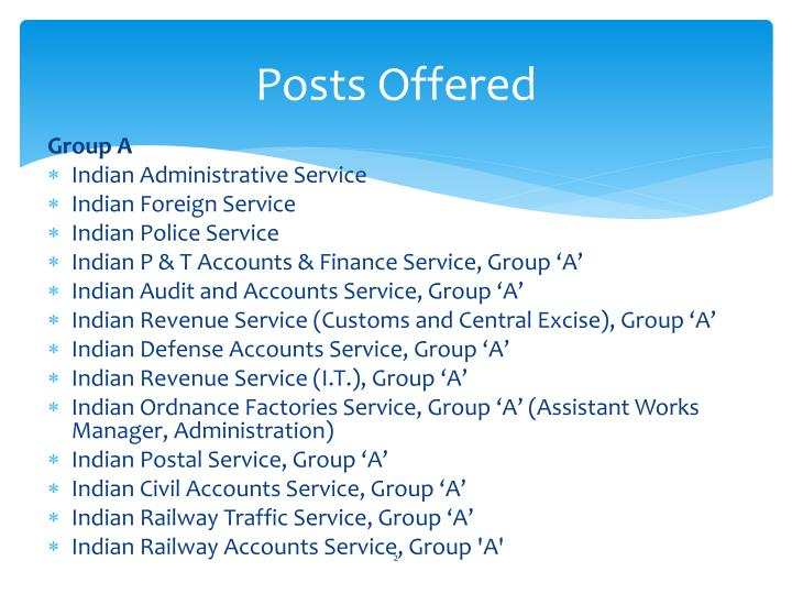 Posts offered