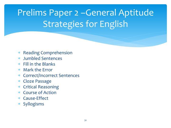 Prelims Paper 2 –General Aptitude Strategies for English