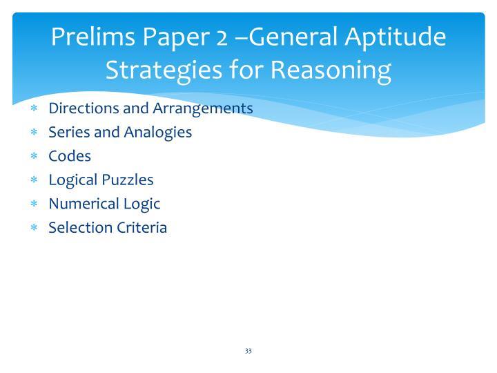 Prelims Paper 2 –General Aptitude Strategies for Reasoning