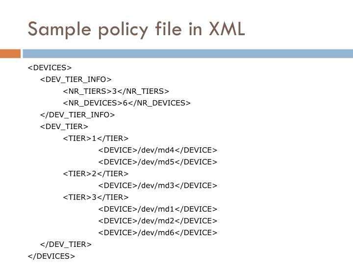 Sample policy file in XML