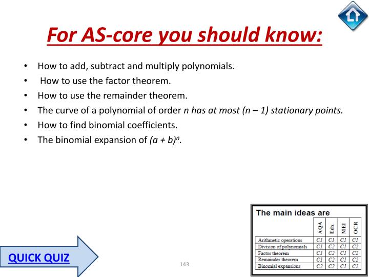 For AS-core you should know:
