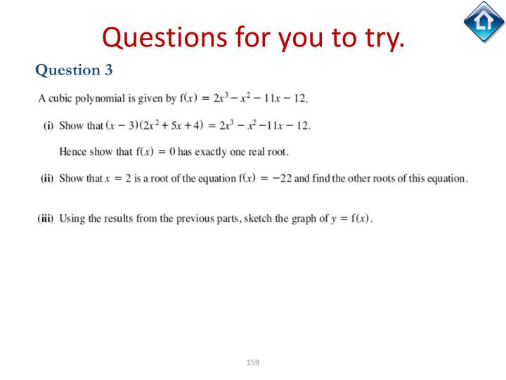 Questions for you to try.
