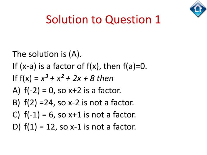 Solution to Question 1