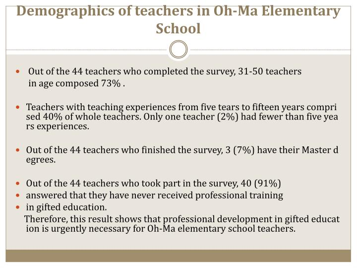 Demographics of teachers in oh ma elementary school
