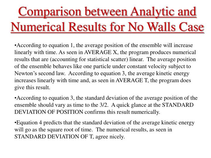 Comparison between Analytic and Numerical Results for No Walls Case