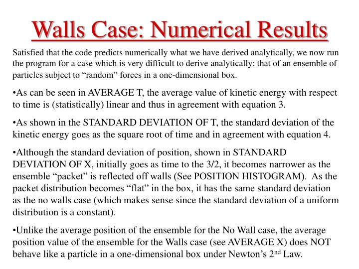 Walls Case: Numerical Results