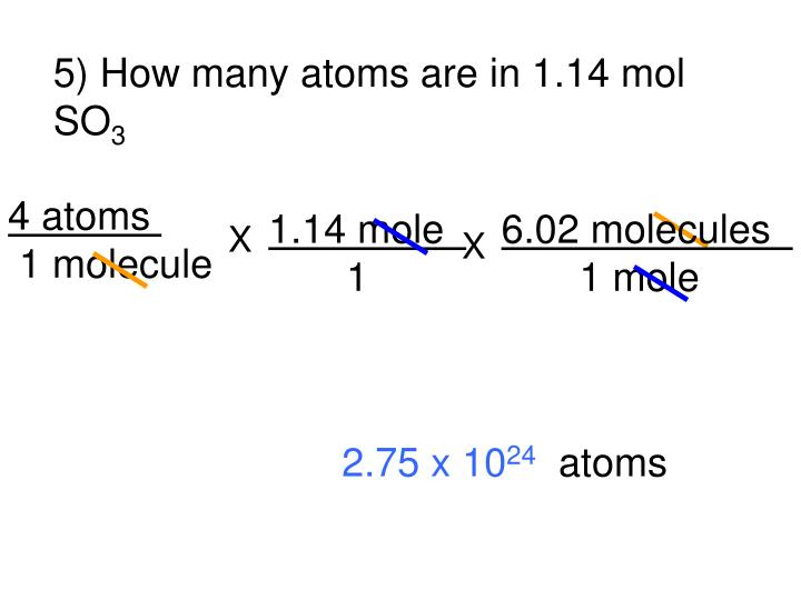 5) How many atoms are in 1.14 mol