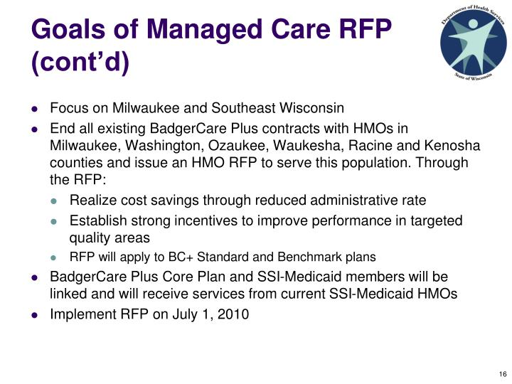 Goals of Managed Care RFP (cont'd)