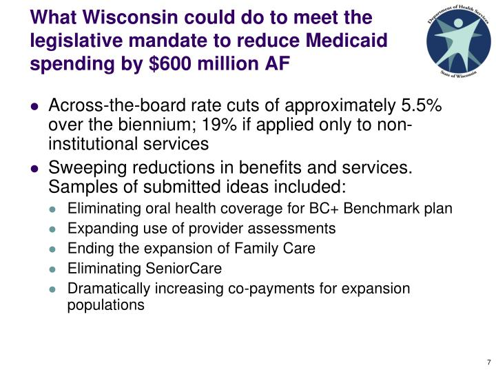 What Wisconsin could do to meet the legislative mandate to reduce Medicaid spending by $600 million AF