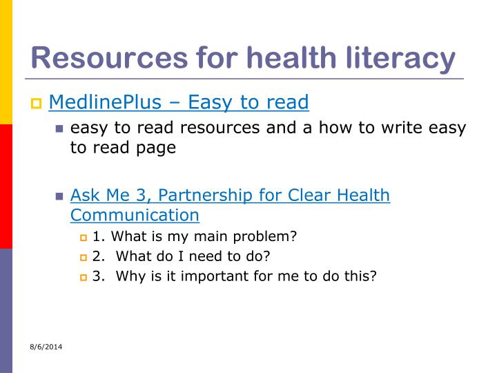 Resources for health literacy