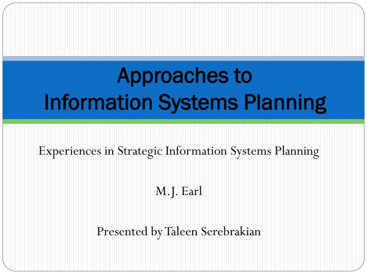approaches to information systems planning n.