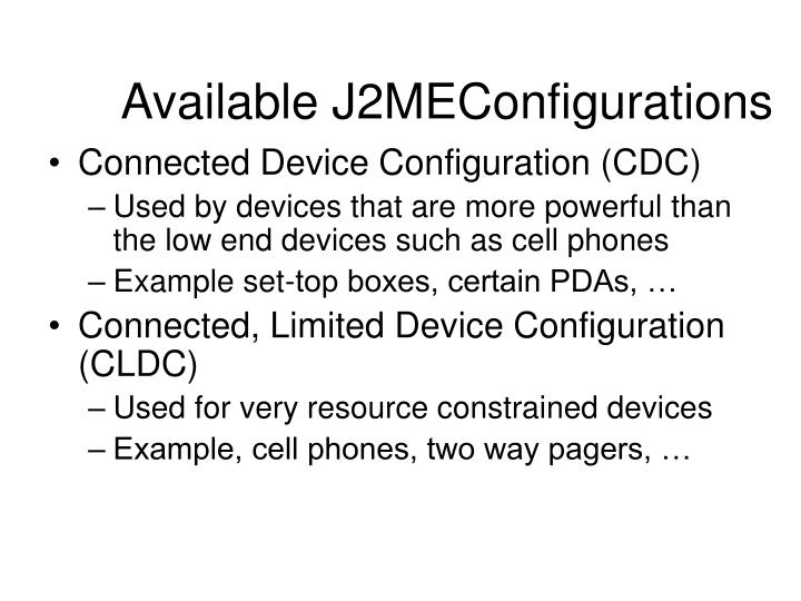 Available J2MEConfigurations