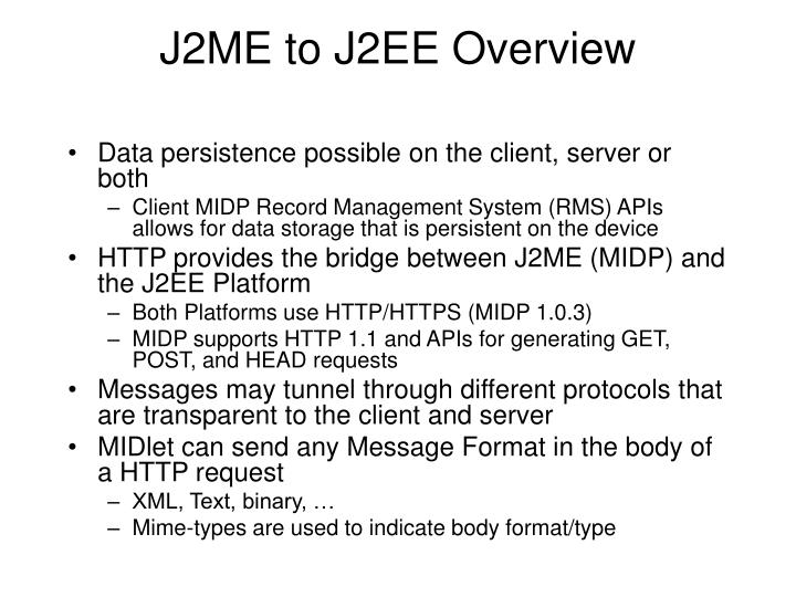 J2ME to J2EE Overview