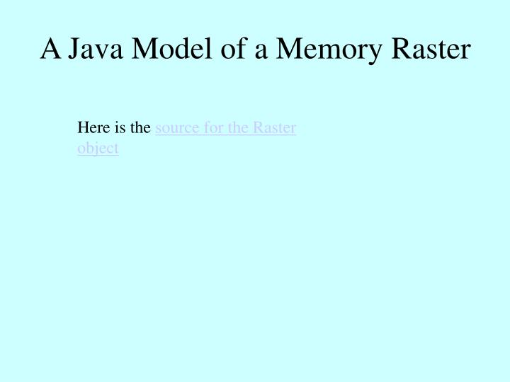 A Java Model of a Memory Raster