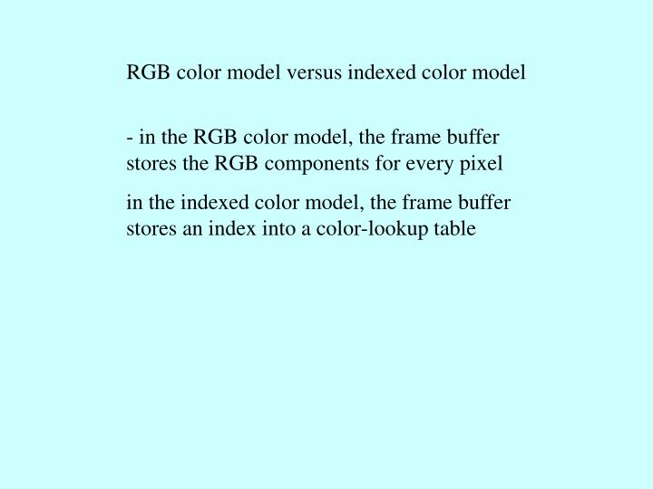 RGB color model versus indexed color model
