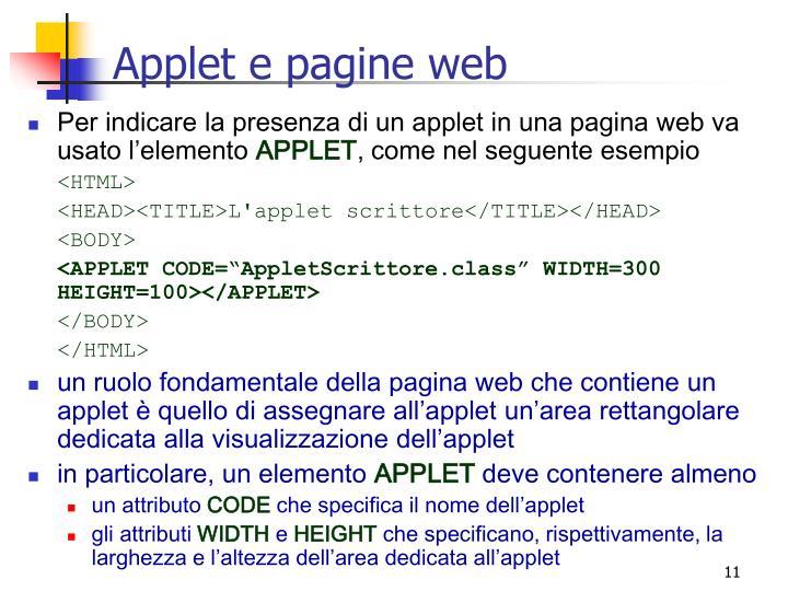 Applet e pagine web