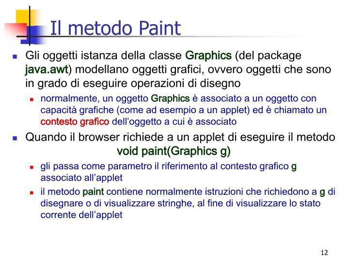 Il metodo Paint