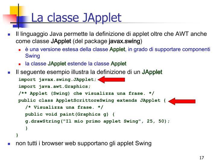 La classe JApplet