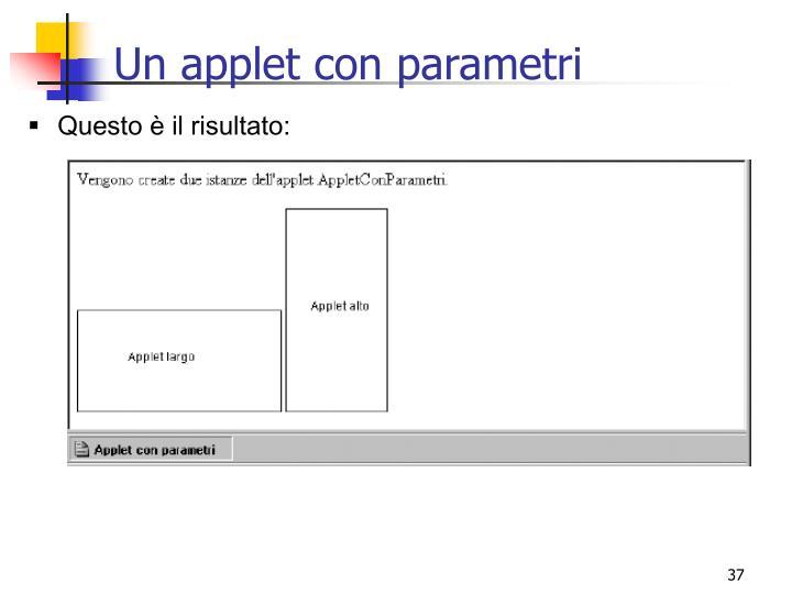 Un applet con parametri