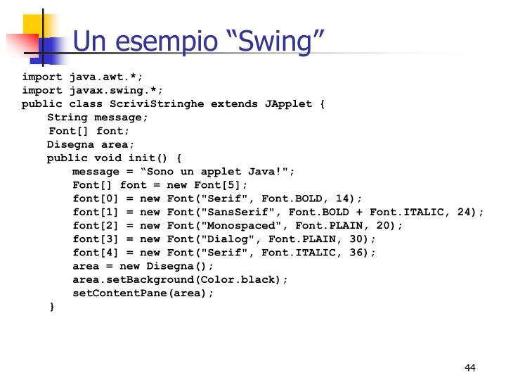 """Un esempio """"Swing"""""""
