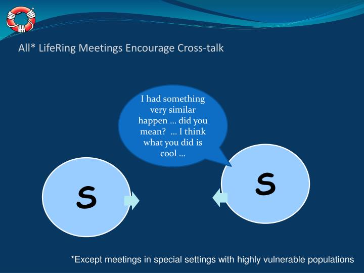 All* LifeRing Meetings Encourage Cross-talk