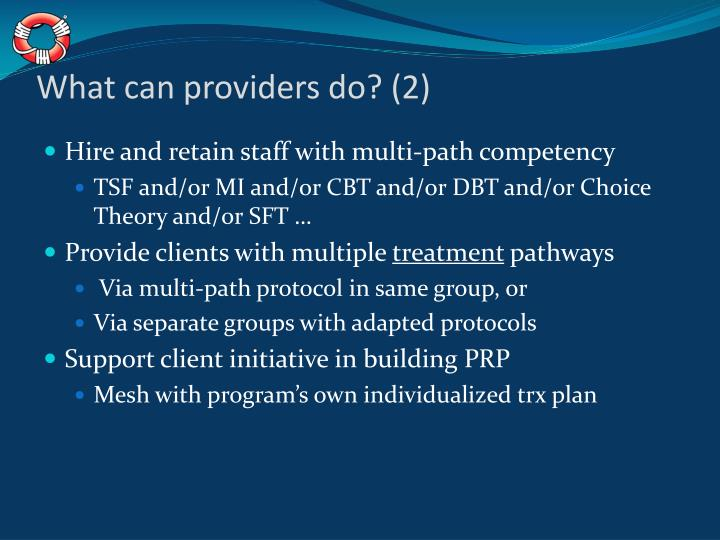 What can providers do? (2)