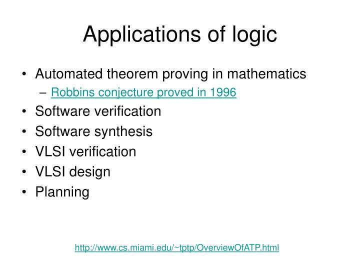 Applications of logic
