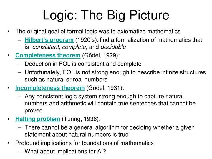 Logic: The Big Picture