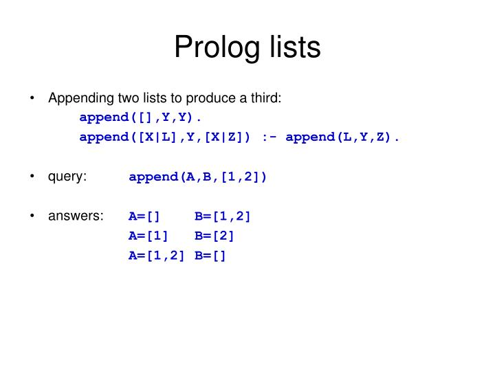 Prolog lists