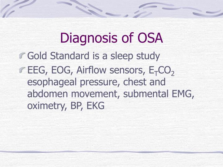 Diagnosis of OSA