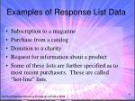 examples of response list data