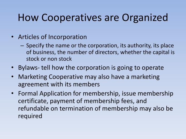 How Cooperatives are Organized