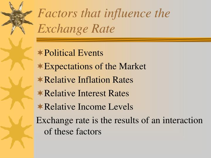 Factors that influence the Exchange Rate