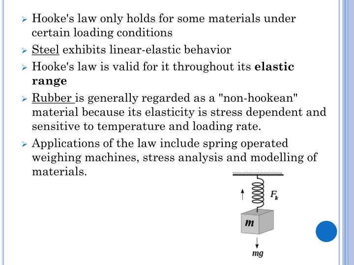 Hooke's law only holds for some materials under certain loading conditions