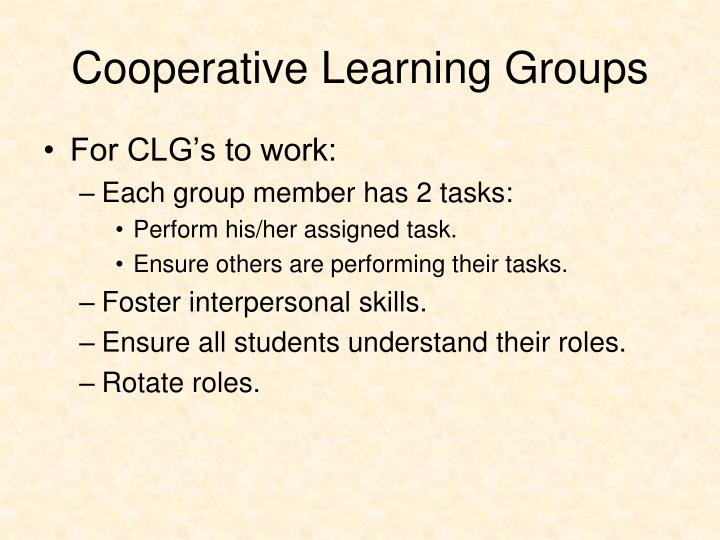 Cooperative Learning Groups