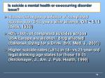 is suicide a mental health or co occurring disorder issue