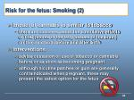 risk for the fetus smoking 2