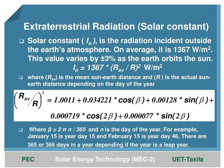 Extraterrestrial Radiation (Solar constant)