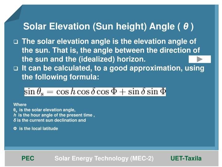 Solar Elevation (Sun height) Angle (