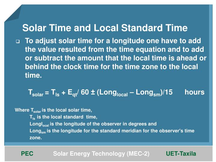 Solar Time and Local Standard Time
