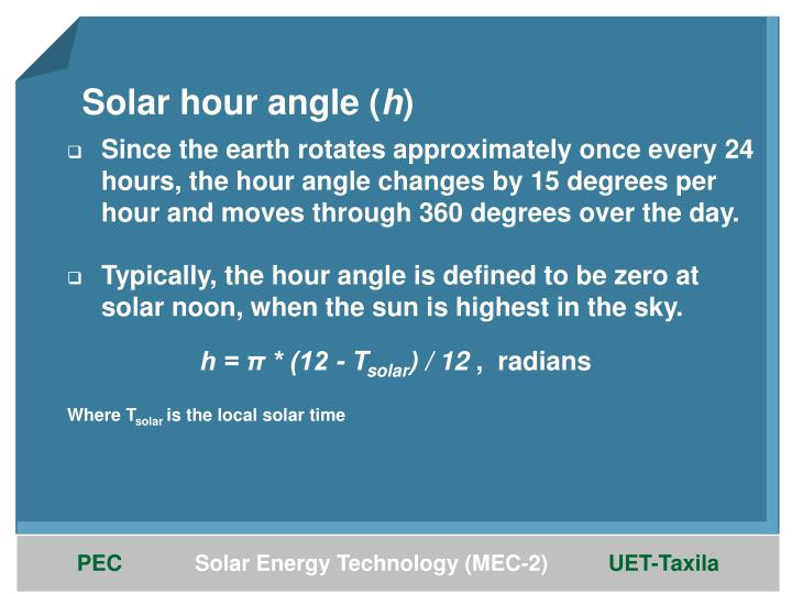 Solar hour angle (
