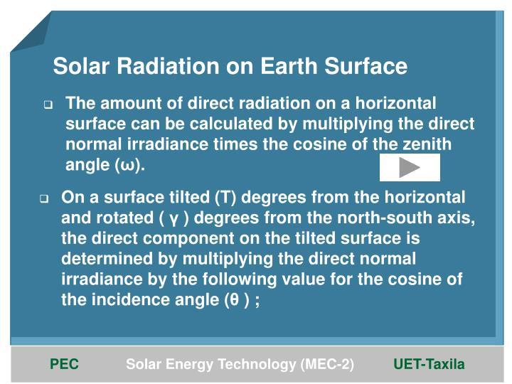 Solar Radiation on Earth Surface