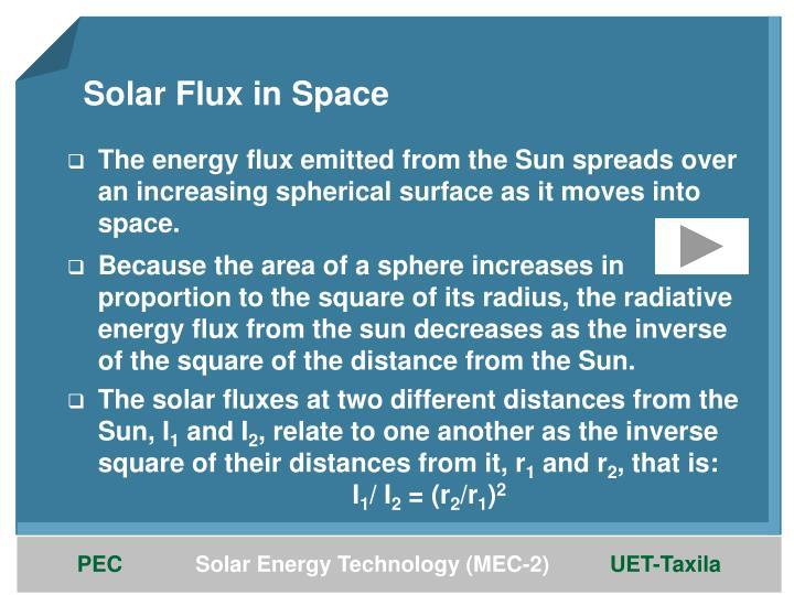Solar Flux in Space