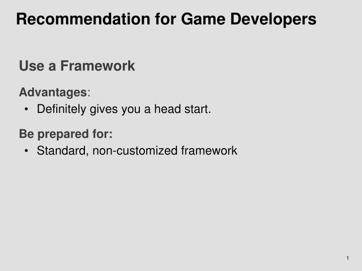 Recommendation for Game Developers