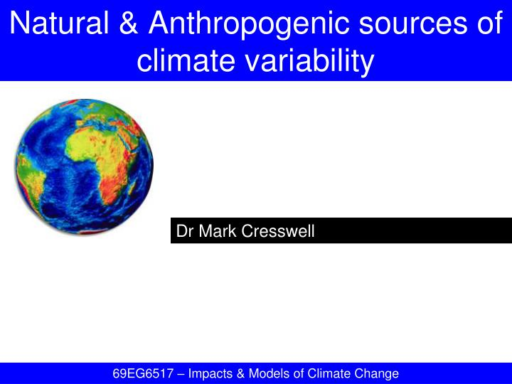 natural anthropogenic sources of climate variability n.