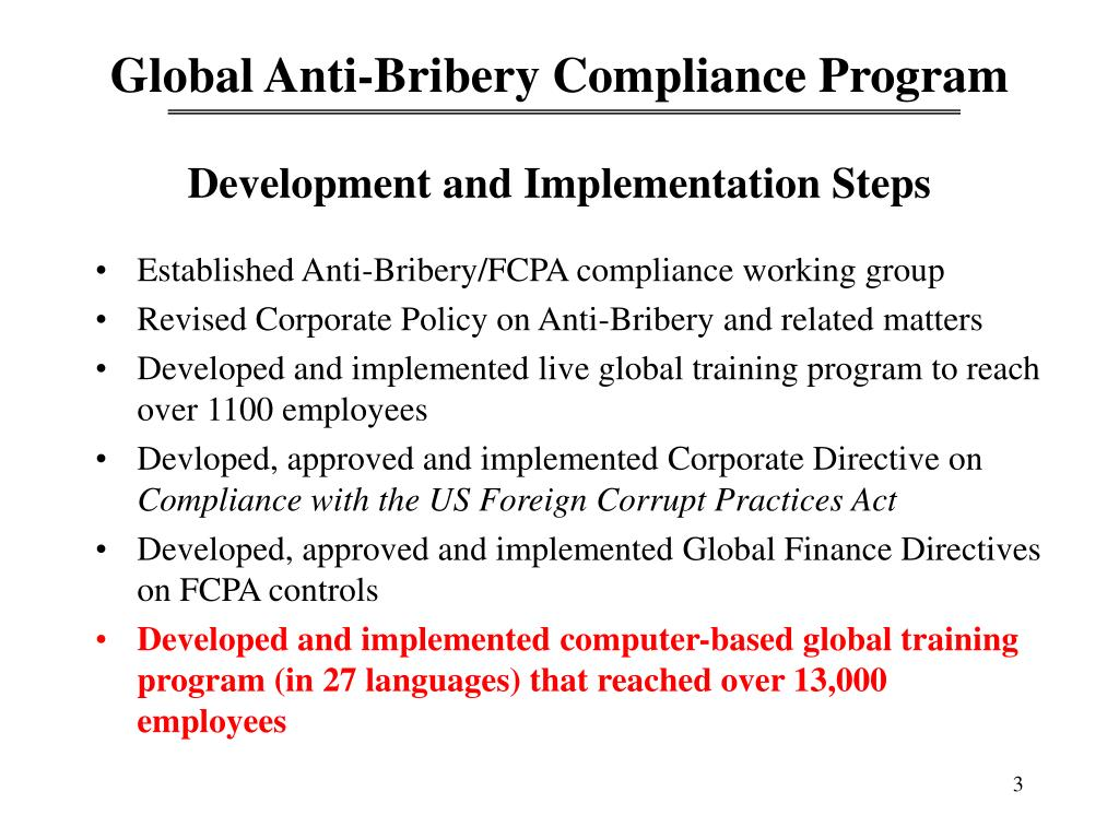 Ppt Developing An Effective Global Anti Bribery Compliance