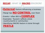 recap what is macro environ