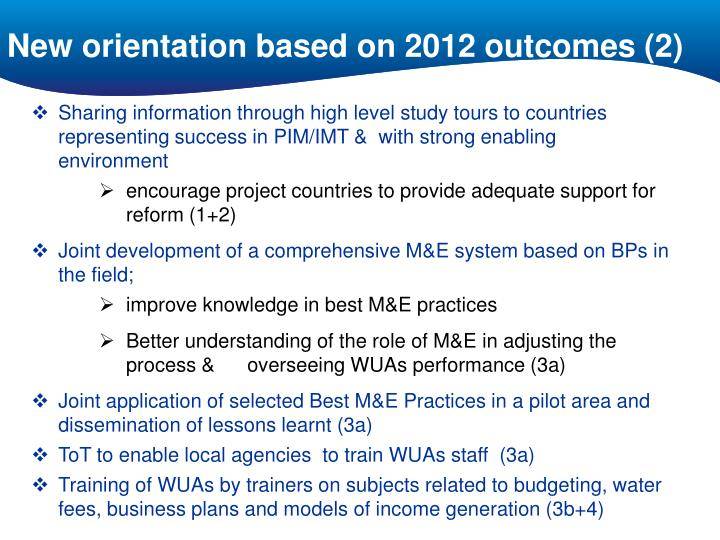 New orientation based on 2012 outcomes (2)